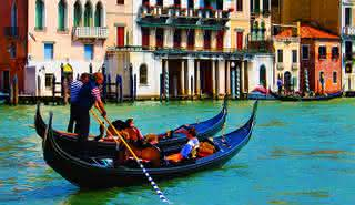 Grand Canal by Gondola with Music and Singer in Beautiful Venice